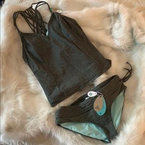 New PRANA 2 pc Tankini Cargo Heather Swimsuit